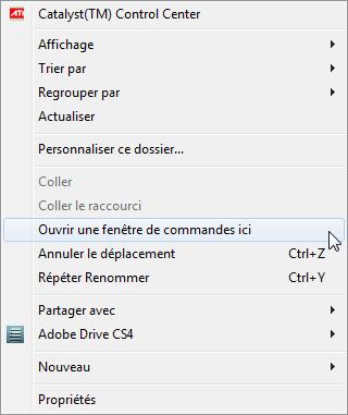 Windows 7 ouvrir une invite de commande dans le for Ouvrir une fenetre ms dos